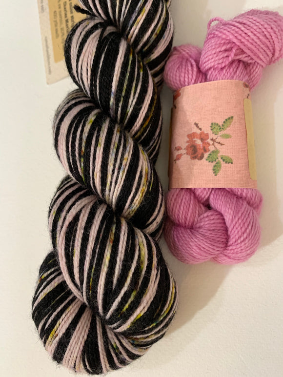 OOAK Speckles with Contrast; 2 Color Stripes Self-Striping; Charles Merino Fingering Yarn