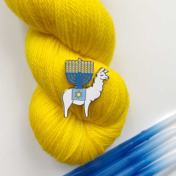 Happy Llamakkah Enamel Pin; Indie Untangled