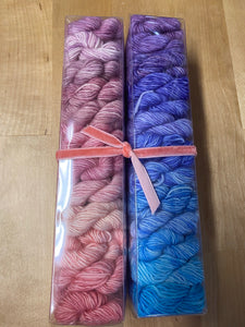 Pastel Explosion Gradient Minis; Spencer Single Ply Fingering Weight Yarn