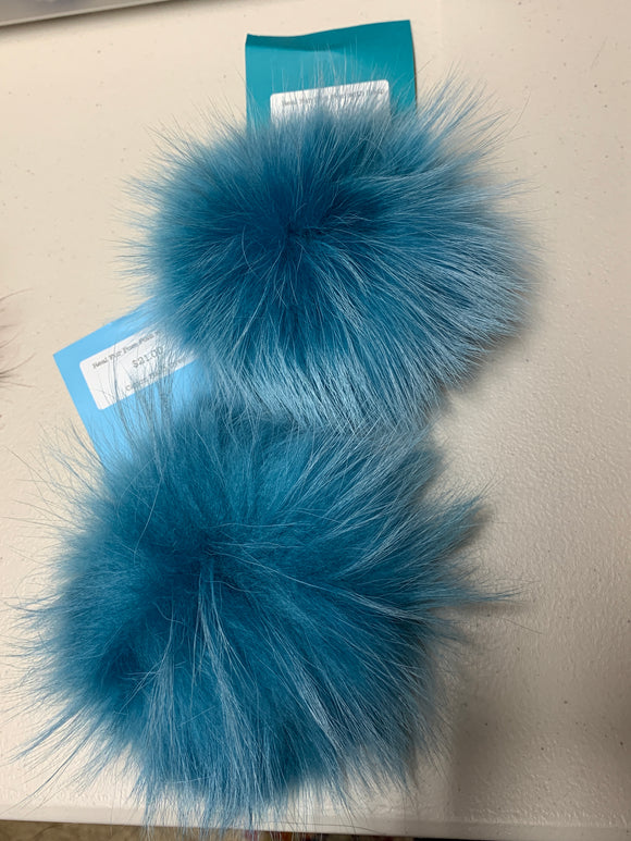 Light Teal Real Fur Pom Pom with Snap