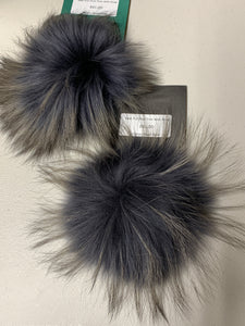 Charcoal with Beige Tips Real Fur Pom Pom with Snap