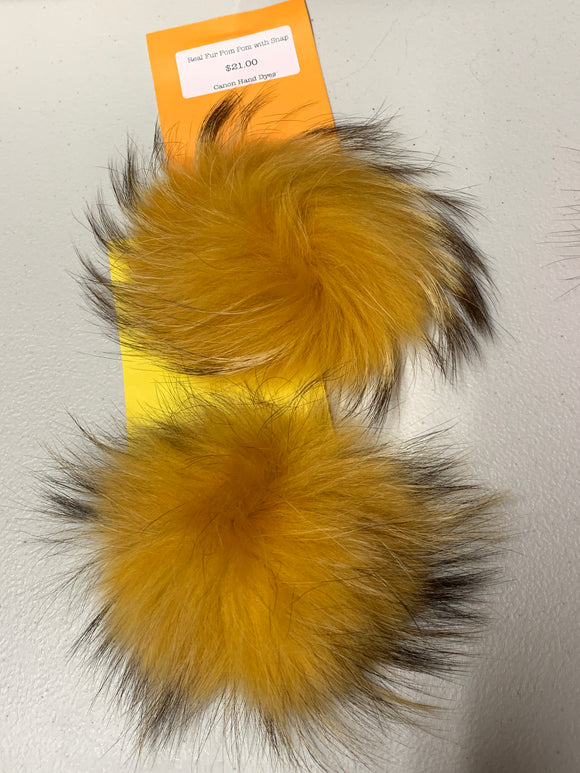 Pale Orange Real Fur Pom Pom with Snap