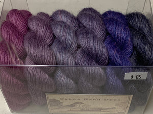Purple Fade Shawl Kit; Silvia Alpaca Silk Linen Yarn