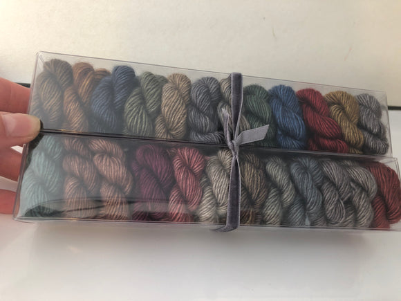 Outlander; Minis set on Yak Silk Merino Single Ply Fingering Weight Yarn