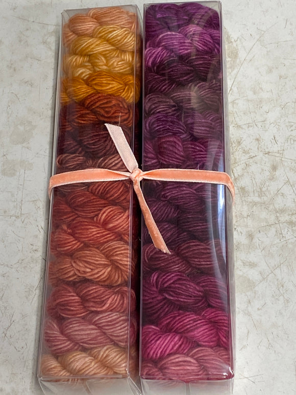 Enchantment; Minis set on Spencer Single Ply Merino Fingering Weight Yarn