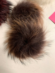 Chocolate Brown Real Fur Pom Pom with Snap