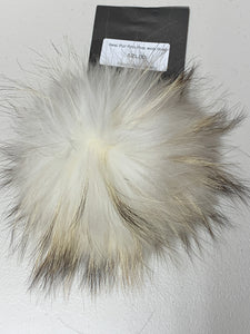 White with Cream Tips Real Fur Pom Pom with Snap