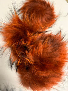 Burnt Orange Real Fur Pom Pom with Snap
