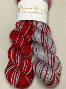 IMPERFECT RED & Silver Polar Opposites Self-Striping; Charles Merino Fingering Yarn