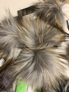 Natural Grey Real Fur Pom Pom with Snap