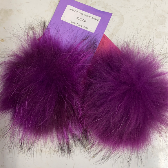 Berry Purple Real Fur Pom Pom with Snap