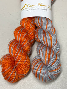IMPERFECT ORANGE & Silver Polar Opposites Self-Striping; Oscar Sparkle Merino Fingering Yarn