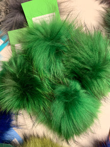 Green Real Fur Pom Pom with Snap