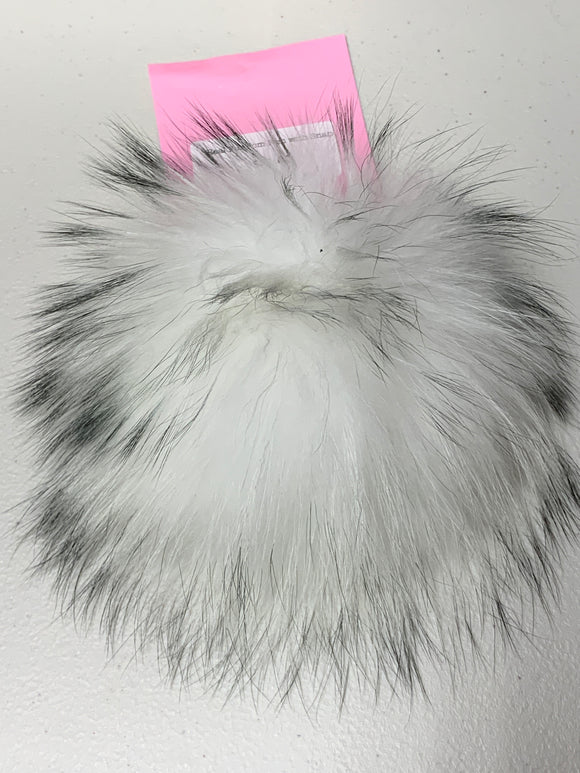 White with Grey Tips Real Fur Pom Pom with Snap