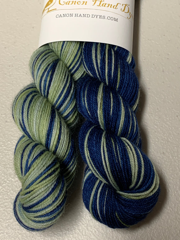 IMPERFECT Love's Labour's Lost Polar Opposites Self-Striping; William Merino Fingering Yarn
