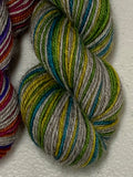 Dance Party, Interrupted; 6 Color Opposite Stripes Self-Striping; Bruce Yak Merino Fingering Yarn