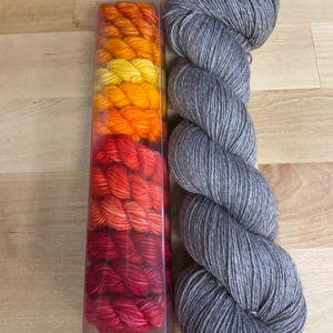 Underrainbow Kit D: 12 Color Minis set plus Yak Merino Contrast, Fingering Weight Yarn