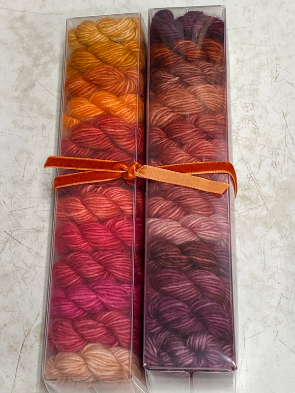 Spicy; Minis set on Spencer Single Ply Merino Fingering Weight Yarn