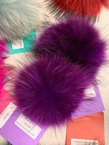 Grape Purple Real Fur Pom Pom with Snap