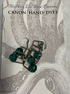 Square Beaded Stitch Markers; EMERALD GREEN; SPARK!