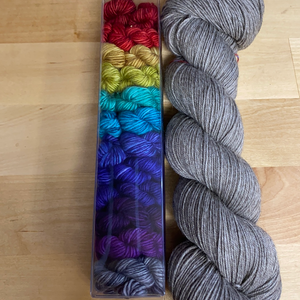 Underrainbow Kit E: 12 Color Minis set plus Yak Merino Contrast, Fingering Weight Yarn