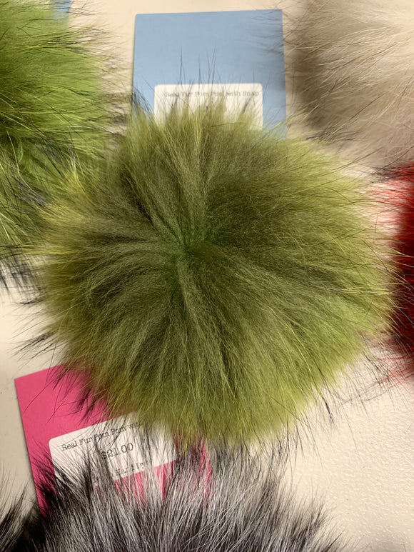 Olive Real Fur Pom Pom with Snap