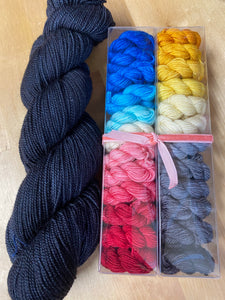 Like Candy Kit: Empress of Salt & Fortune Minis with Contrast; John Merino Fingering Weight Yarn