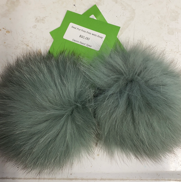 Sea Foam Real Fur Pom Pom with Snap
