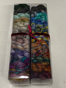Colors of Happiness (Dragonfly); Minis set on Spencer Single Ply Merino Fingering Weight Yarn