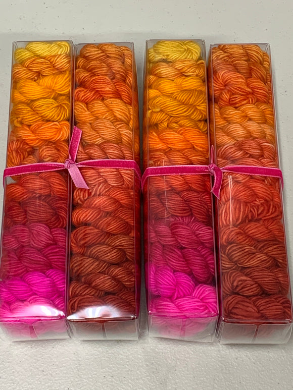 Pinks & Oranges; Minis set on Spencer Single Ply Merino Fingering Weight Yarn