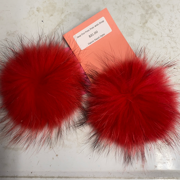 Candy Red Real Fur Pom Pom with Snap