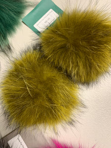 Acid Gold Real Fur Pom Pom with Snap