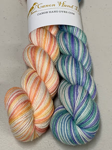 Soft Rainbow, Interrupted; 6 Color Opposite Stripes Self-Striping; Merino Fingering Yarn