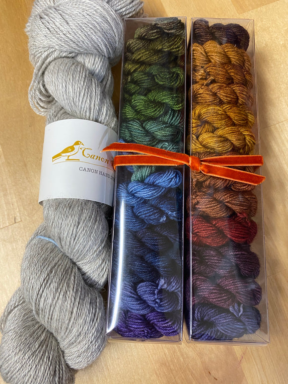 Like Candy Kit: Fall Spices Minis with Contrast; John Merino Fingering Weight Yarn