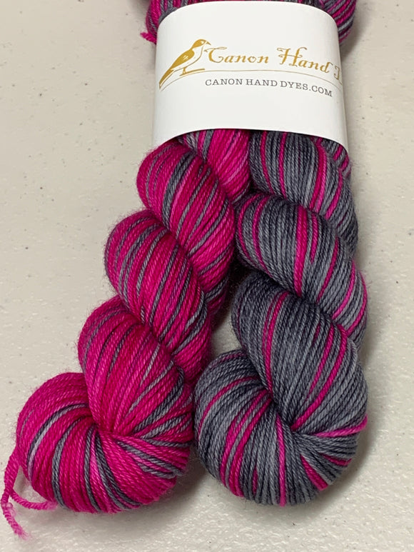 IMPERFECT PINK & Charcoal Polar Opposites Self-Striping; William Merino Fingering Yarn