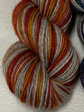 Fall Rainbow, Interrupted; 6 Color Opposite Stripes Self-Striping; Bruce Yak Merino Fingering Yarn