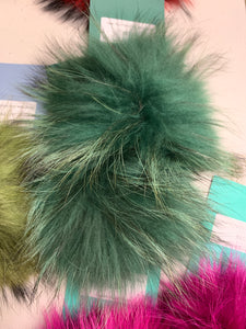 Dark Green Real Fur Pom Pom with Snap