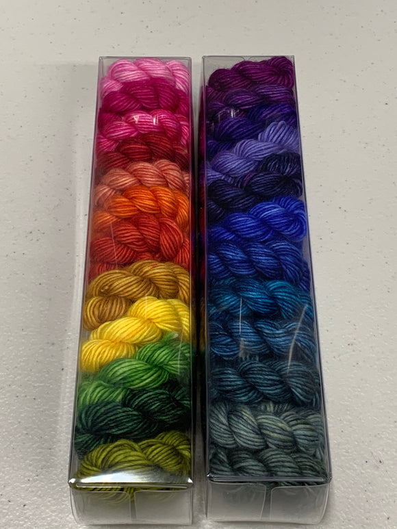 Rainbow of Happiness (Dragonfly); Minis set on Spencer Single Ply Merino Fingering Weight Yarn