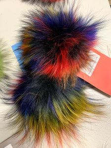 Multi Colored Real Fur Pom Pom with Snap