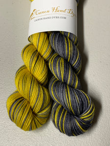 Hufflepuff Polar Opposites Self-Striping; William Merino Fingering Yarn