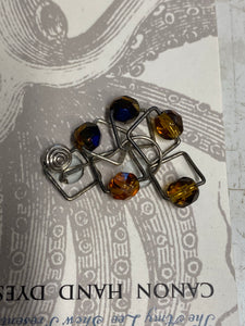 Square Beaded Stitch Markers; MUSTARD; SPARK!