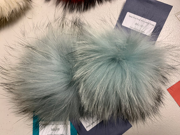 Iced Blue Real Fur Pom Pom with Snap