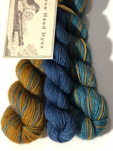 Ponyo Polar Opposites Self-Striping; Bruce Yak Merino Fingering Yarn