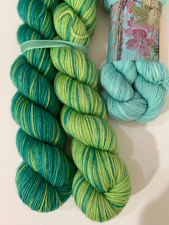 Grassy Greens Polar Opposites with Contrast; Self-Striping William Merino Fingering Yarn
