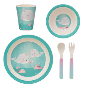 Alma Narwhal Bamboo Tableware Set - Little Fawn Box - Subscription box for mum and baby