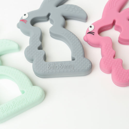 Belo Bunny Teething Toy (Pink, Mint & Grey)