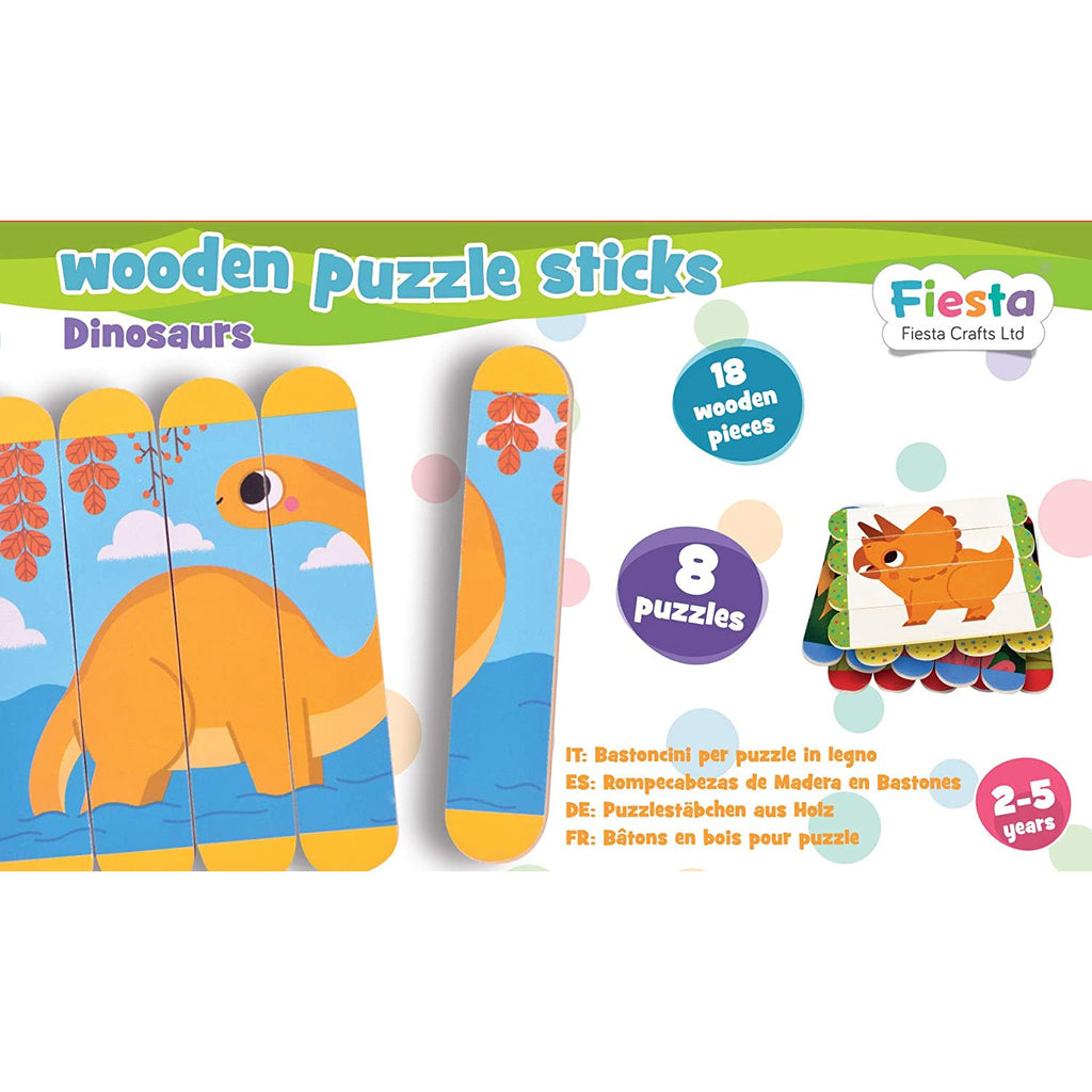 Wooden Puzzle Sticks | Dinosaur - Little Fawn Box
