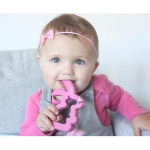 Belo Bunny Teething Toy (Pink, Mint & Grey) - Little Fawn Box