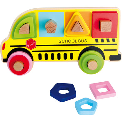 Plug Puzzle Shapes School Bus - Little Fawn Box
