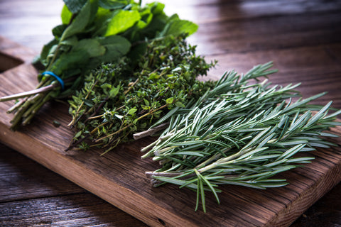 herbs on a wooden bench